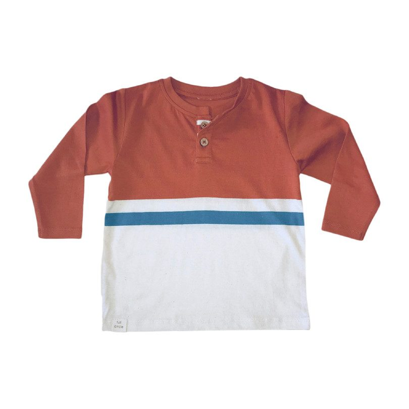Long Sleeve Stripe Henley, Clay