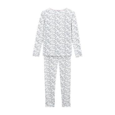 Child Pajamas, White with Leaves