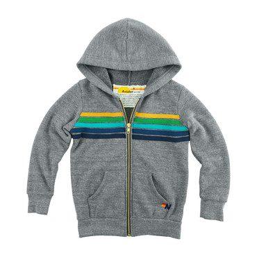 5 Stripe Zip Hoodie, Heather Grey/Green
