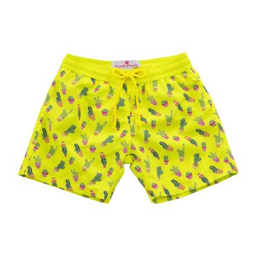 Mason Swim Short, Yellow with Cactus