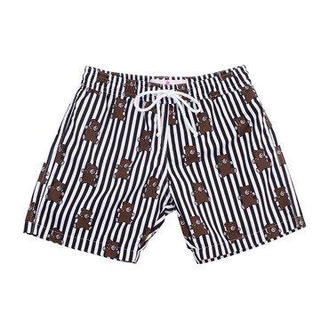 Mason Swim Trunks, Black Stripes & Bears