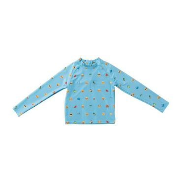 Mini Max Long Sleeve Swim Shirt, Blue Emoji