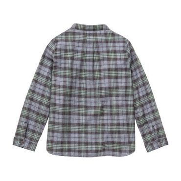 Roman Stand Collar Shirt, Green Plaid
