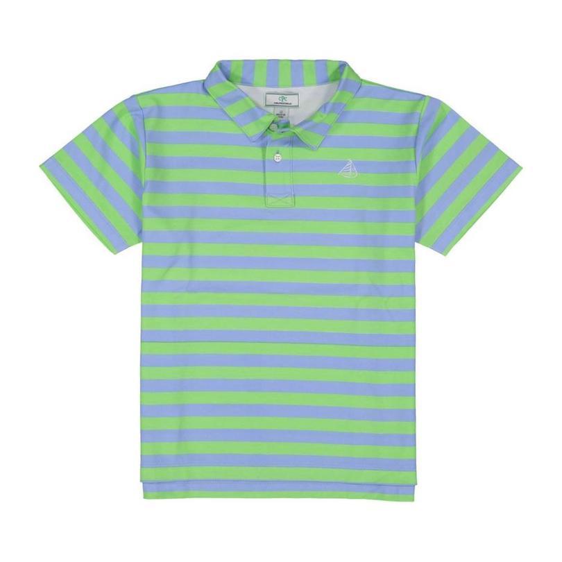 Henry Boys Short Sleeve Polo, Cornflower Blue & Summer Green Stripe