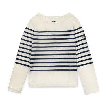 Kids Striped Tee, Marshmallow/Navy