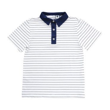 Performance Polo, White and Navy Stripe