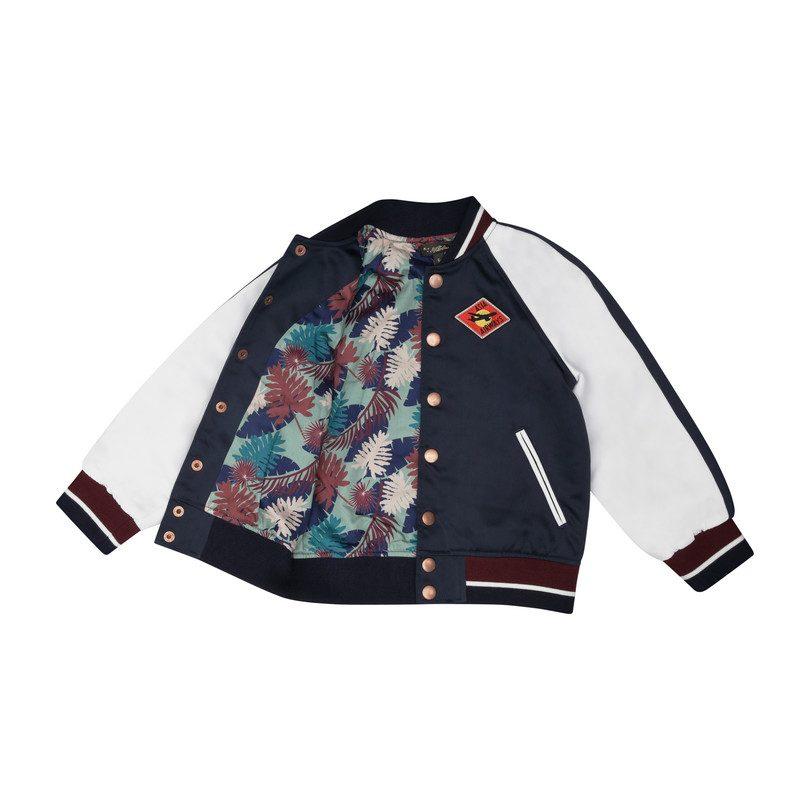 Arlo Baseball Jacket, Navy Satin