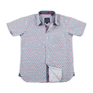 Short Sleeve Siam Sailboats, White