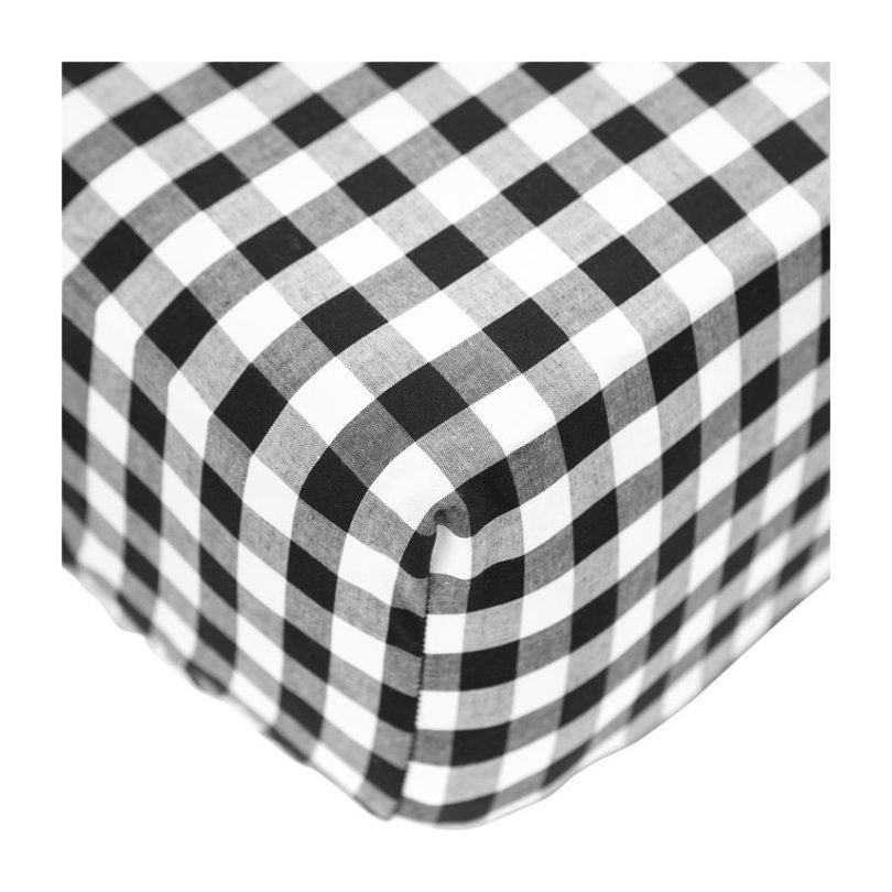 Crib Sheet, Black Gingham Cotton