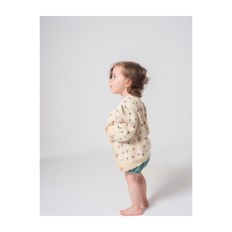 Organic Baby Flowers Cardigan, Blanc de Blanc