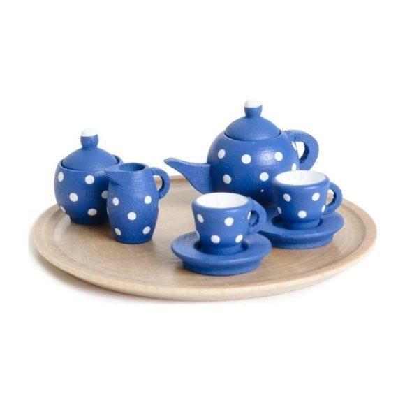Miniature Blue Polka Dot Dollhouse Tea Set
