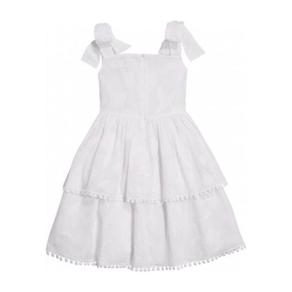 Flower Cotton Fil Coupe Tiered Day Dress, White