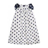 Polka Dot Silk Twill Sleeveless Dress, White & Navy