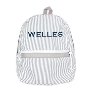 Monogrammed Seersucker Medium Backpack, Grey
