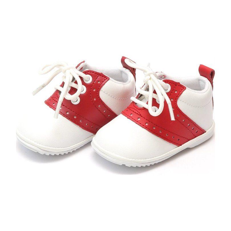 Baby Austin Leather Saddle Oxford Shoe, White/Red