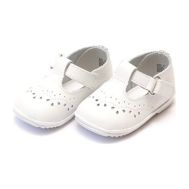 Baby Birdie Leather T-Strap Stitched Mary Jane, White