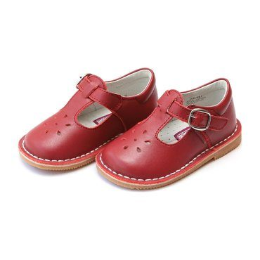 Joy Classic Leather Stitch Down T-Strap Mary Jane, Red