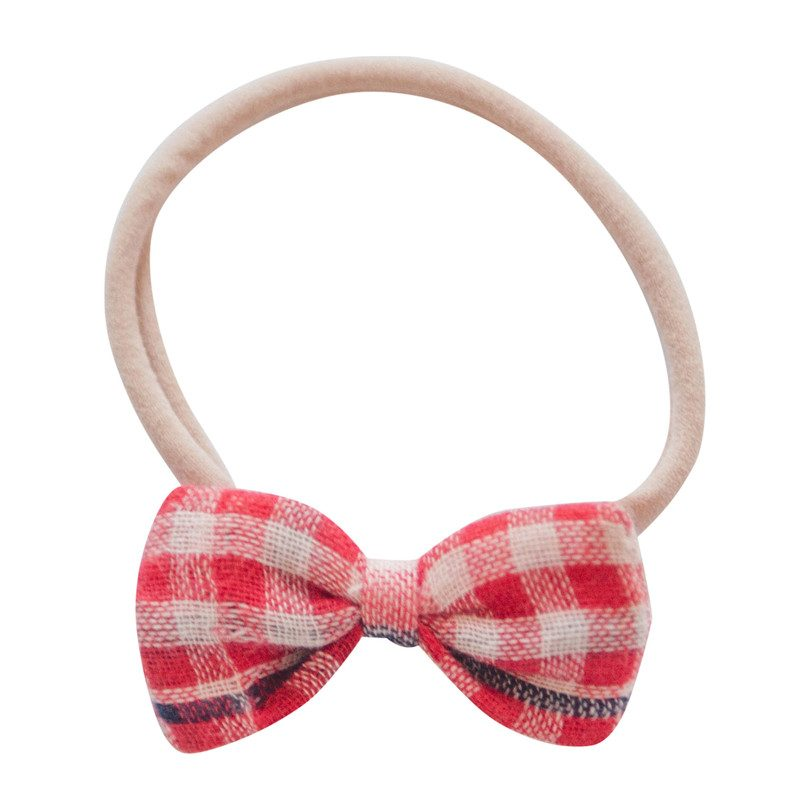 Baby Bow Headband, Red Checks