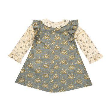 Apron Dress, Gray Floral