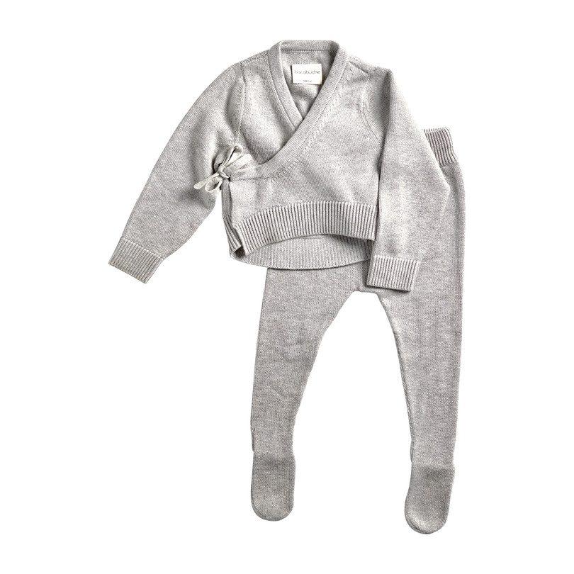 Knit Kimono Top & Footie Set, Heather Grey