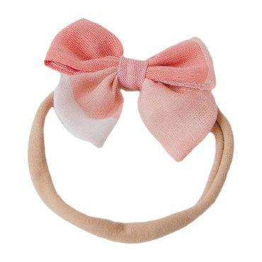 Baby Bow Headband, Peach Checks
