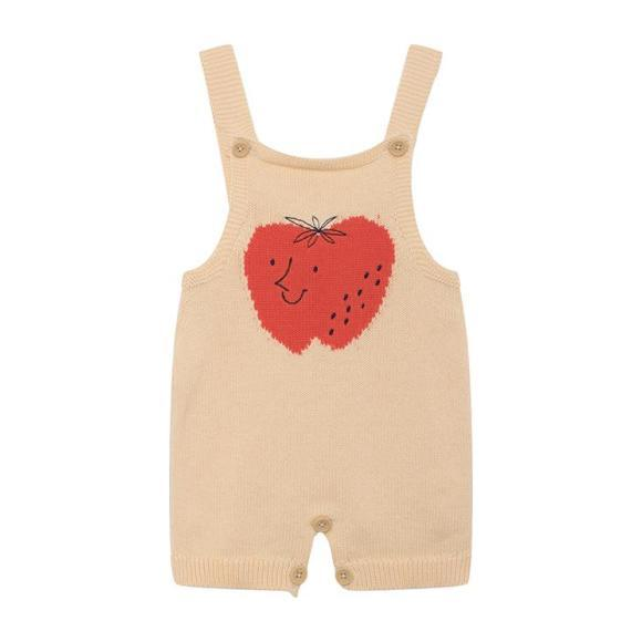 Baby Knitted Overall, Strawberry Print