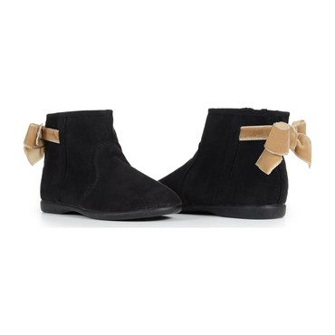 Booties with Velvet Bows, Black Suede