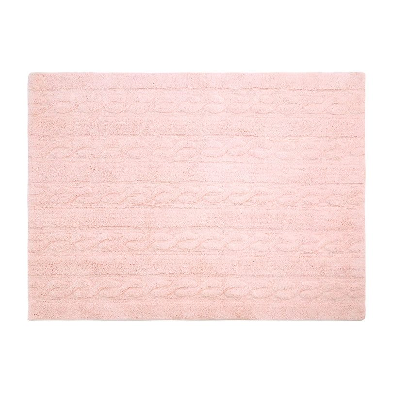 Braids Washable Rug, Soft Pink
