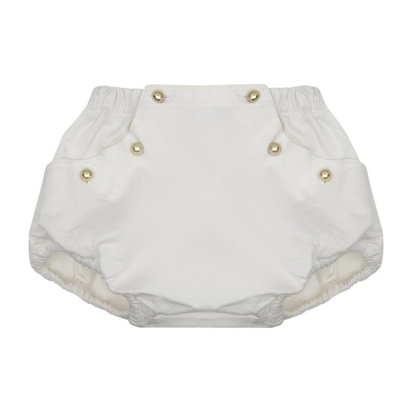 Clementine Button Front Shorts, White Twill