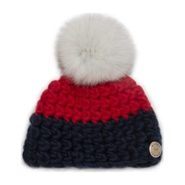 Red and Navy Colorblock Beanie with White Pom