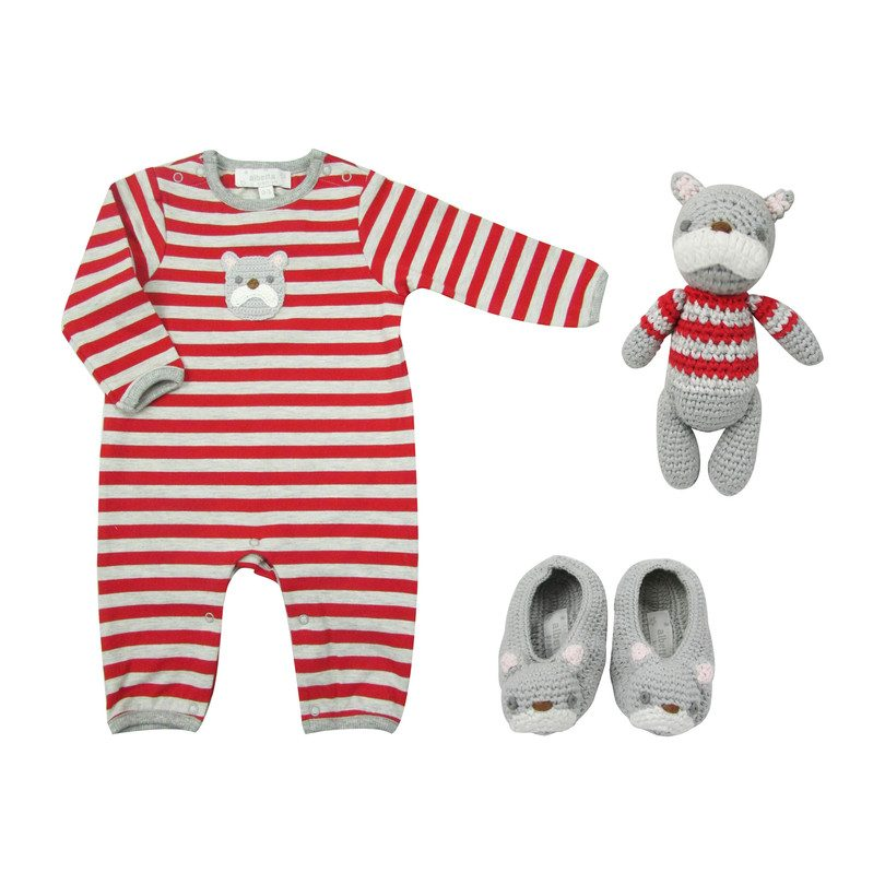 Crochet Bulldog Baby Gift Set