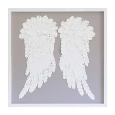 Feather Angel Wings, White On Grey