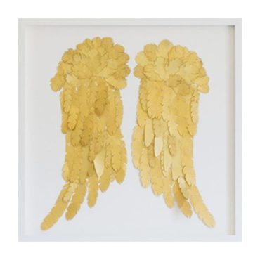 Feather Angel Wings, Gold On White