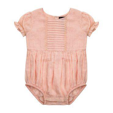 Effie Pintucked Onesie, Salt Pink Cotton Gauze