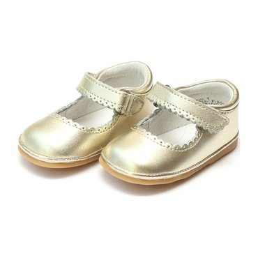 Baby Cara Metallic Scalloped Leather Mary Jane, Gold