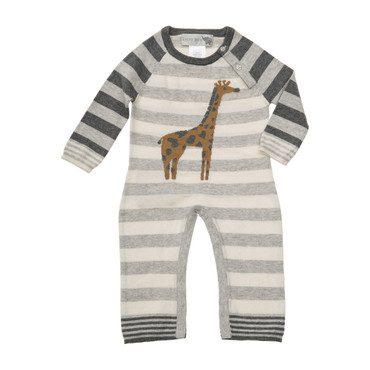 Giraffe Stripe Coverall, Grey