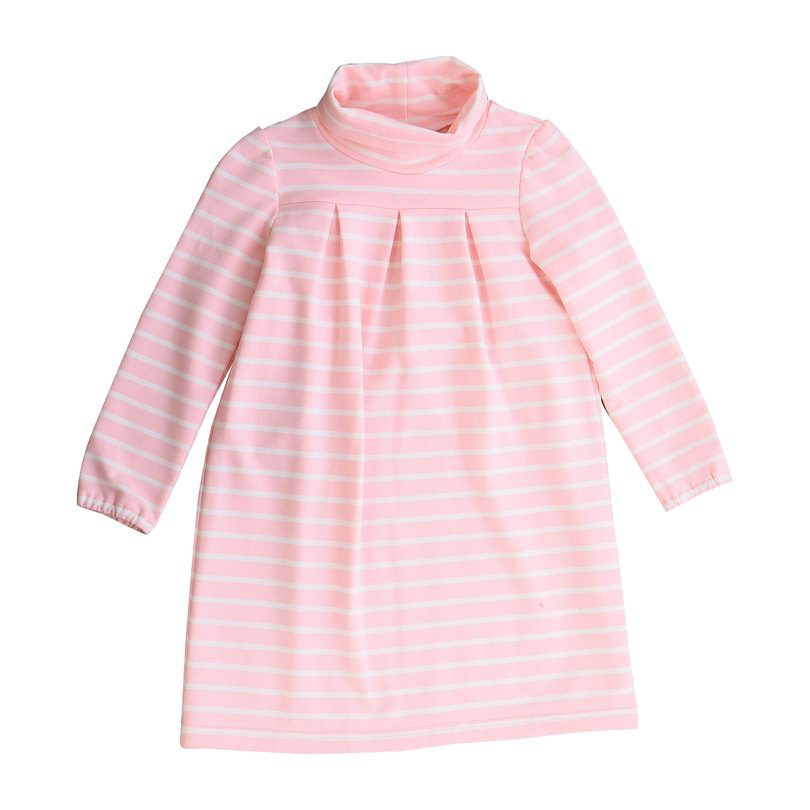 Suzy Knit Turtleneck Dress, Pink/White Stripe