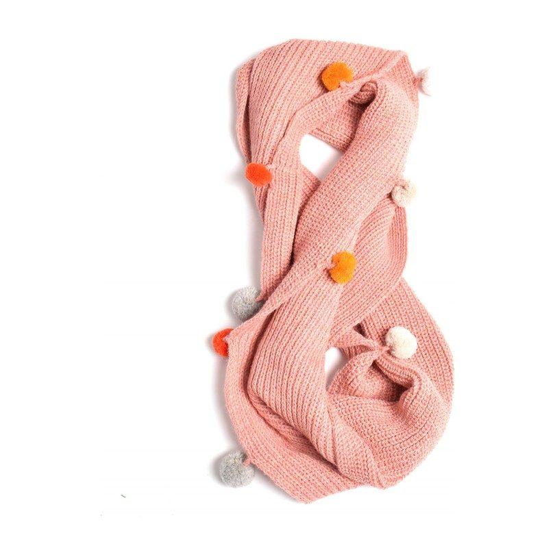 Double Wrap Infinity Pom Scarf, Pink
