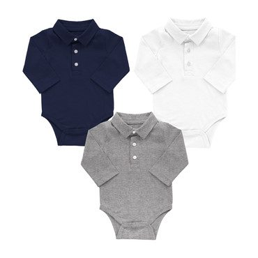 Long Sleeve Polo Babysuit Set, Essentials
