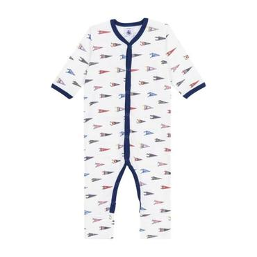 Baby Footed Pajamas, White with Flags