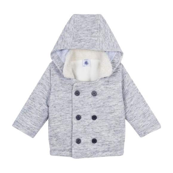 Baby Double Breasted Hooded Jacket, Grey