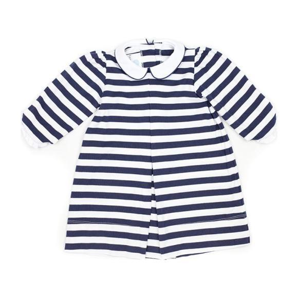 Monogrammable Striped Knit Dress, Navy