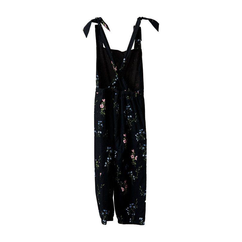 Flower Patch Overalls, Black Floral