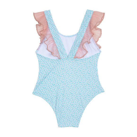 Ruffled Swimsuit, Ditsy Aqua Florals