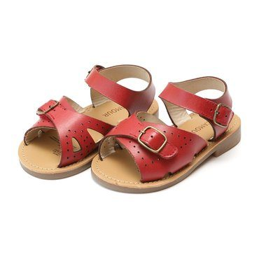 Pippi Leather Buckle Open Toe Sandal, Red