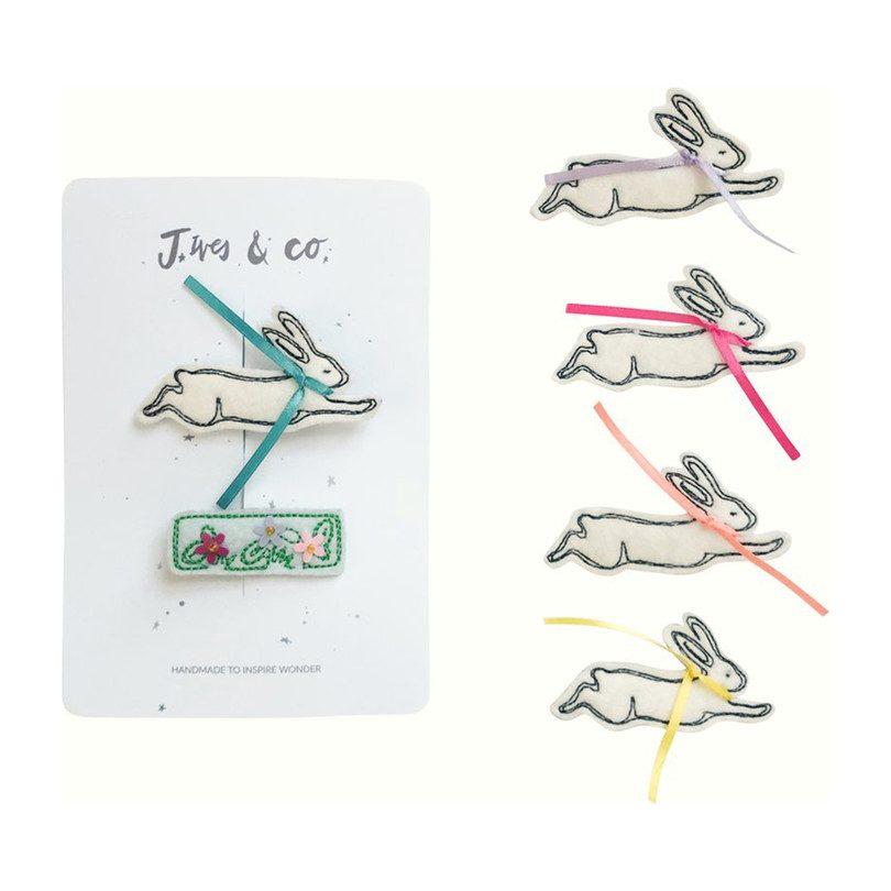 Bunny Hair Clip Set, Peach