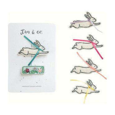 Bunny Hair Clip Set, Aqua