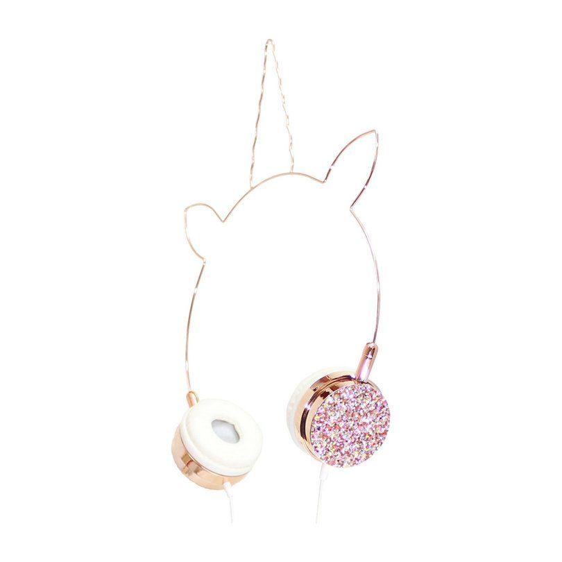Unicorn Headphones, Rose Gold/Multi Glitter