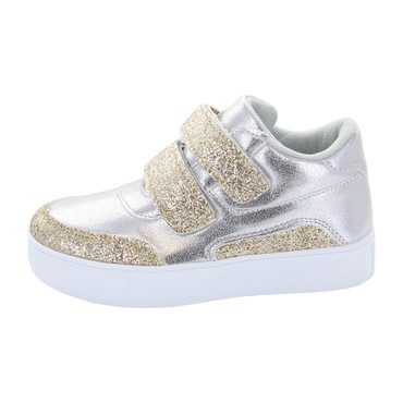 Double Velcro High Top, Silver/Gold Glitter