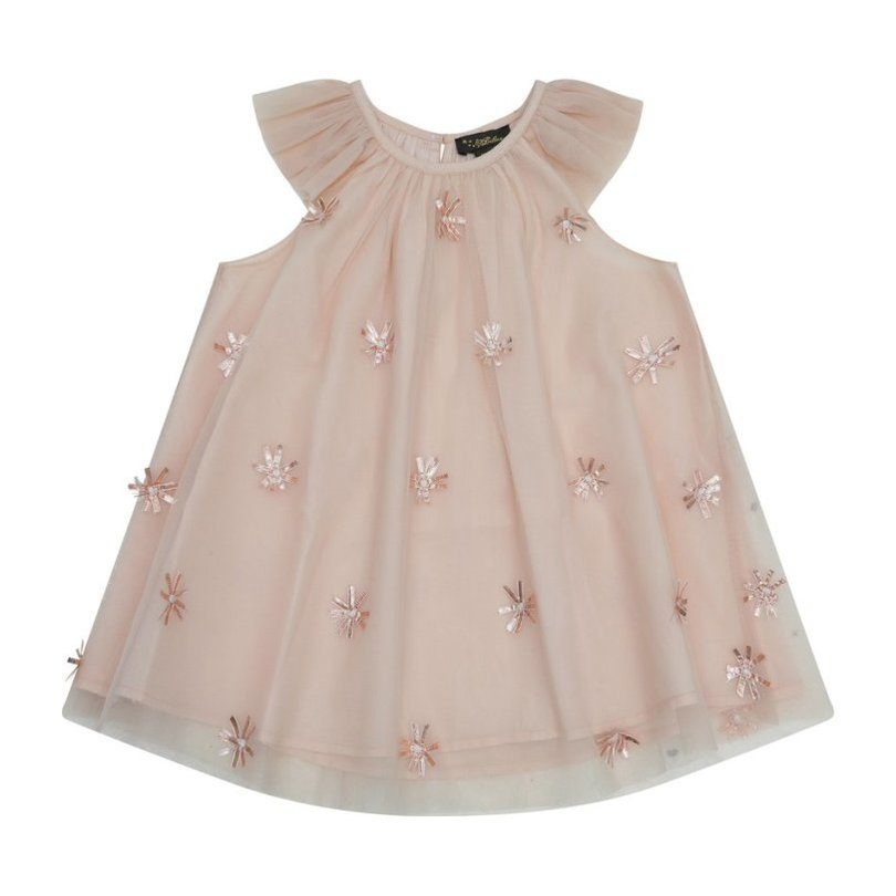 Harper Frill Party Dress, Pewter Lame Embellished Mesh